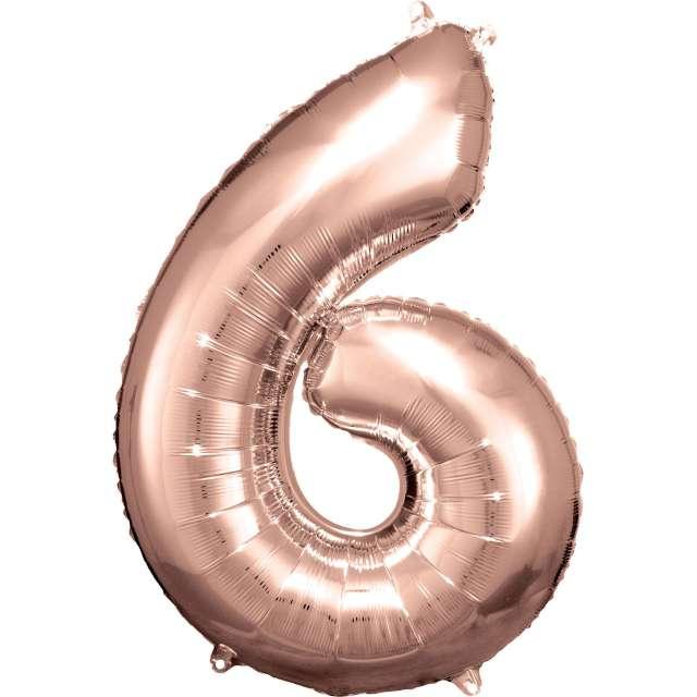 """Balon foliowy """"Cyfra 6"""", różowo-złoty, Amscan, 34"""""""