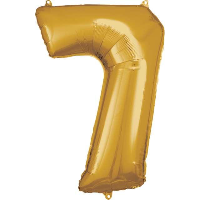 """Balon foliowy """"Cyfra 7"""", złoty, Amscan, 34"""""""