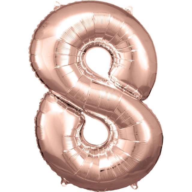 """Balon foliowy """"Cyfra 8"""", różowo-złoty, Amscan, 34"""""""