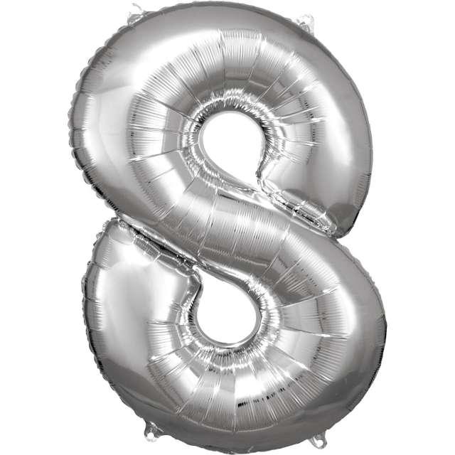 """Balon foliowy """"Cyfra 8"""", srebrny, Amscan, 34"""""""