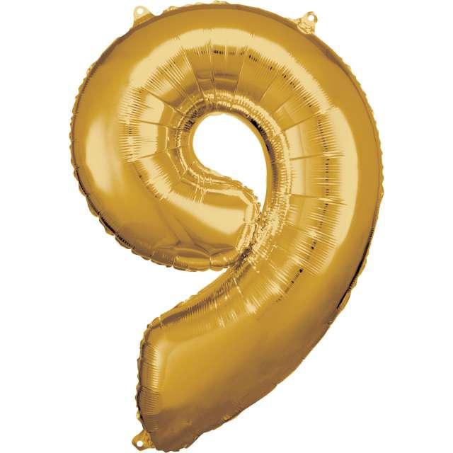 """Balon foliowy """"Cyfra 9"""", złoty, Amscan, 34"""""""