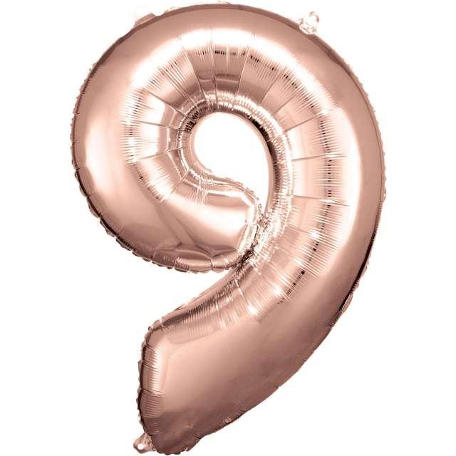 """Balon foliowy """"Cyfra 9"""", różowo-złoty, Amscan, 34"""""""