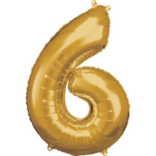 """Balon foliowy """"Cyfra 6"""", złoty, Amscan, 34"""""""