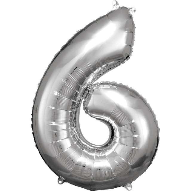 """Balon foliowy """"Cyfra 6"""", srebrny, Amscan, 34"""""""