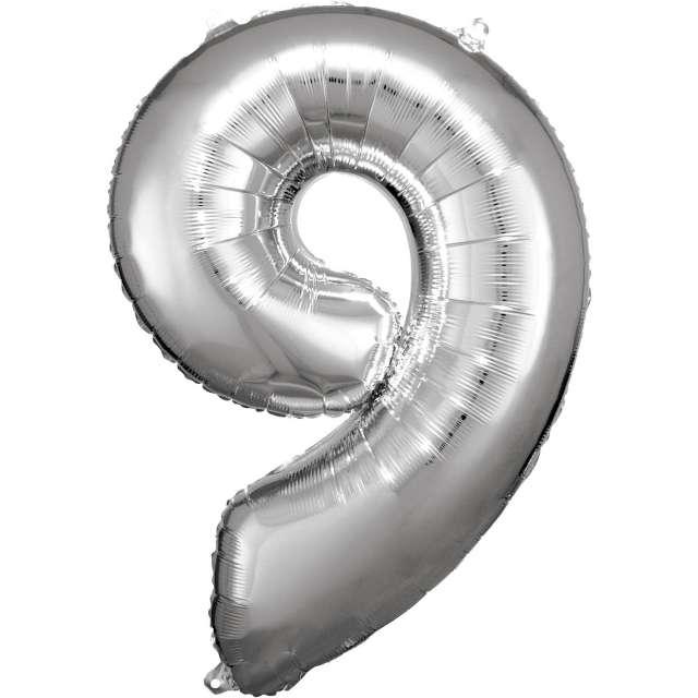 """Balon foliowy """"Cyfra 9"""", srebrny, Amscan, 34"""""""