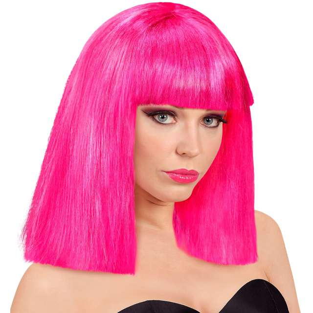 Peruka party Neon różowa Widmann