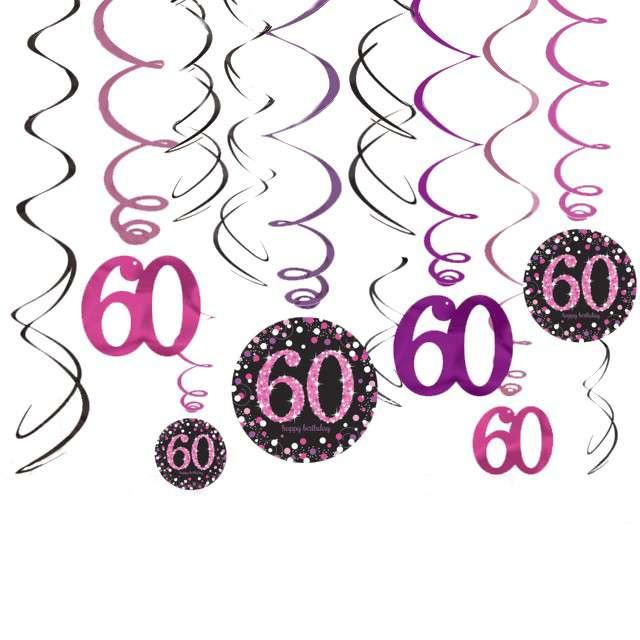 """Świderki wiszące """"60 Urodziny"""", Amscan, 12 szt"""