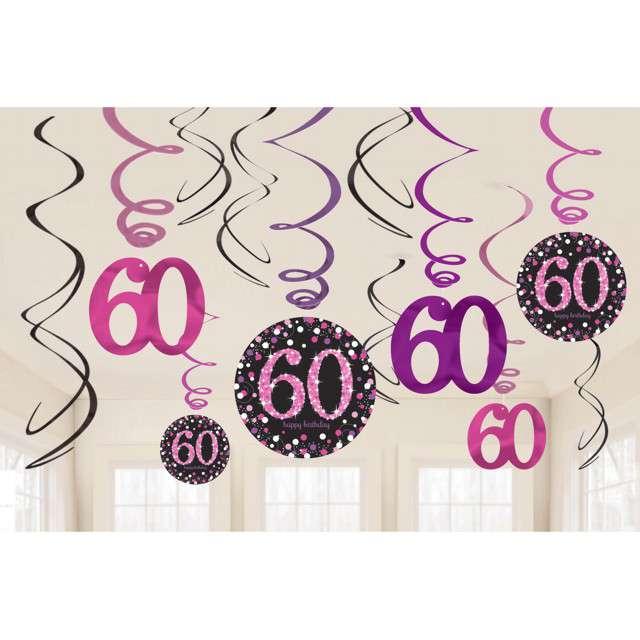 Świderki wiszące 60 Urodziny Amscan 12 szt
