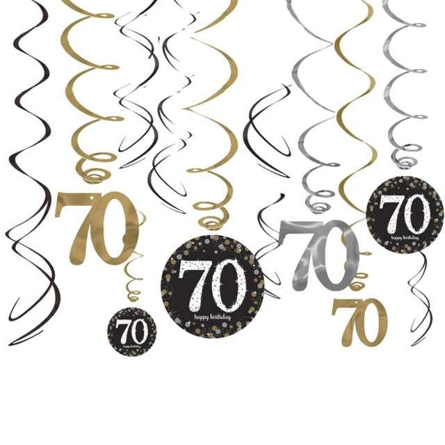 """Świderki wiszące """"70 Urodziny"""", Amscan, 12 szt"""