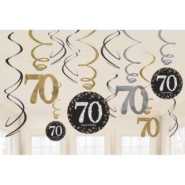 Świderki wiszące 70 Urodziny Amscan 12 szt
