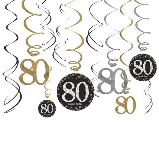"""Świderki wiszące """"80 Urodziny"""", Amscan, 12 szt"""