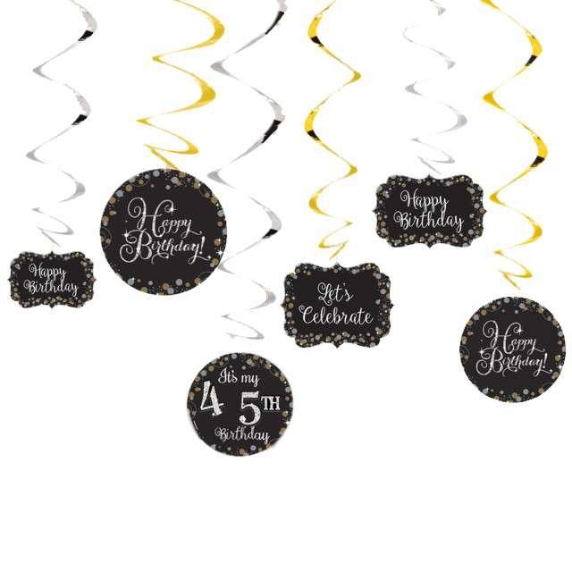 Świderki wiszące Na każde urodziny Amscan 12 szt