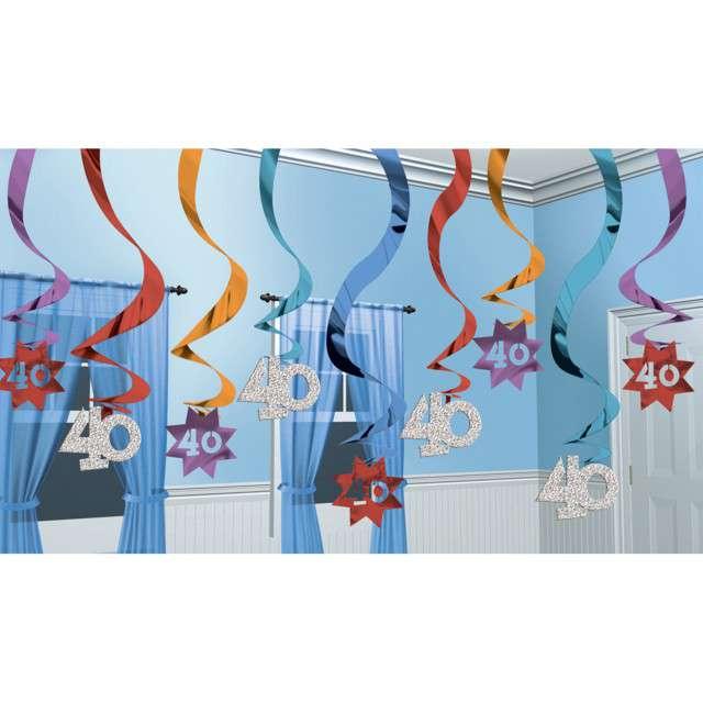 Świderki wiszące 40 Urodziny mix Amscan 12 szt