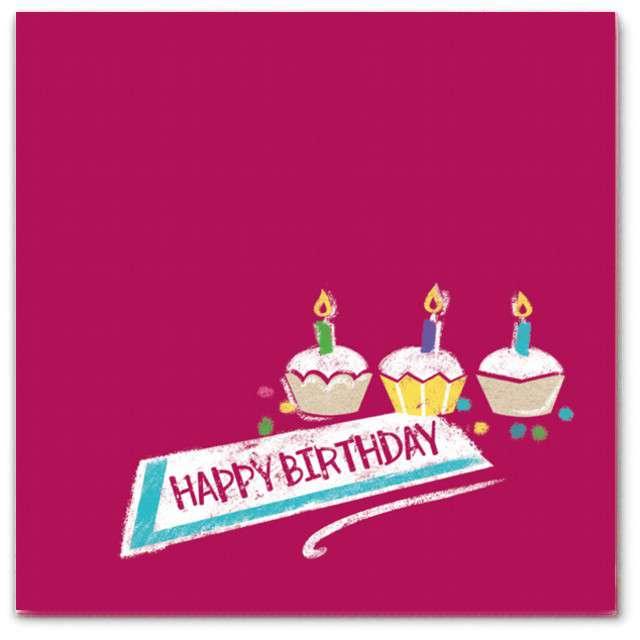 """Serwetki """"Happy Birthday"""", różowe, Amscan, 25 cm, 20 szt"""