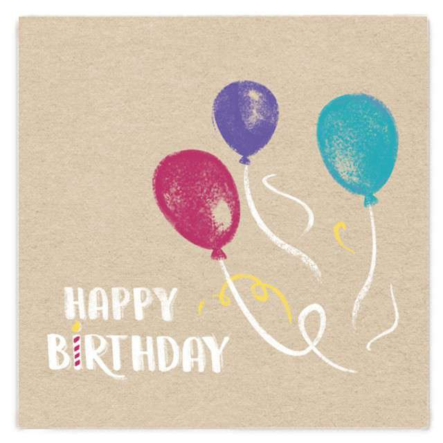 """Serwetki """"Happy Birthday"""", brązowe, Amscan, 33 cm, 20 szt"""