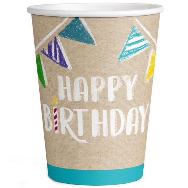 """Kubeczki papierowe""""Happy Birthday"""", Amscan, 250 ml, 8szt"""