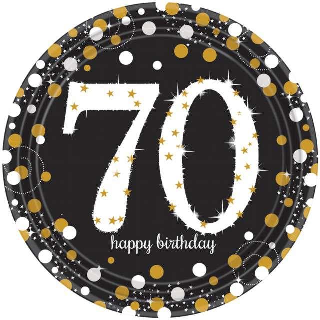 """Talerzyki papierowe """"70 Urodziny - Happy Birthday"""", Amscan, 23 cm, 8 szt"""