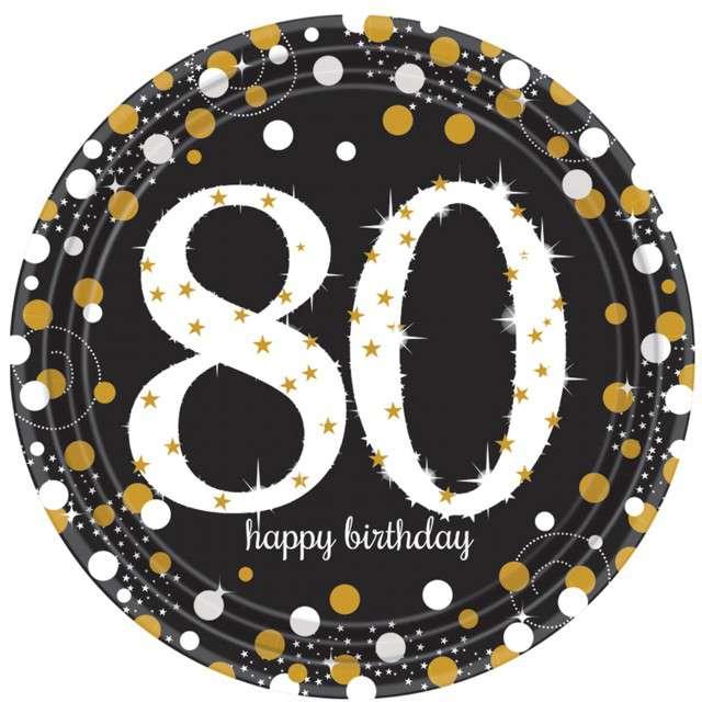 """Talerzyki papierowe """"80 Urodziny - Happy Birthday"""", Amscan, 23 cm, 8 szt"""
