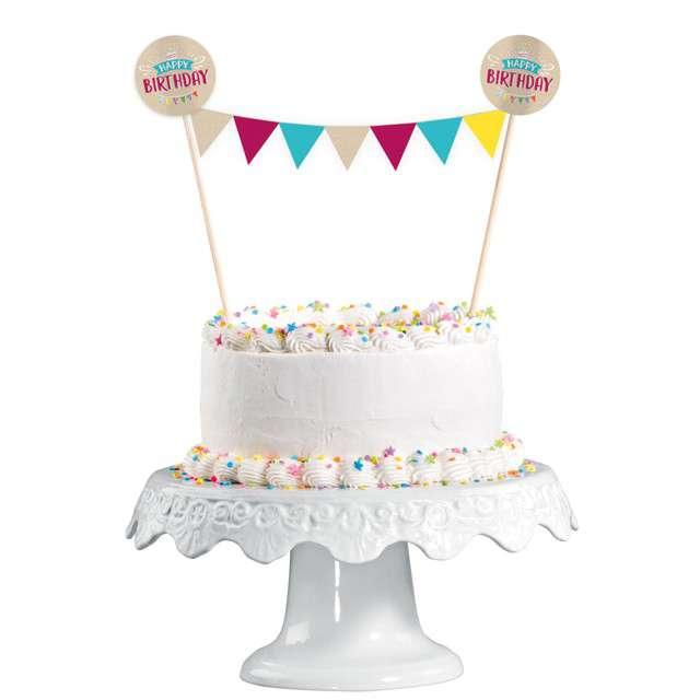 "Dekoracja na tort ""Happy Birthday"", Amscan, 20cm"