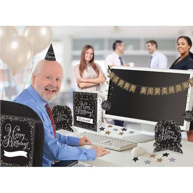 """Zestaw dekoracji """"Happy Birthday"""", czarno-złoty, Amscan"""