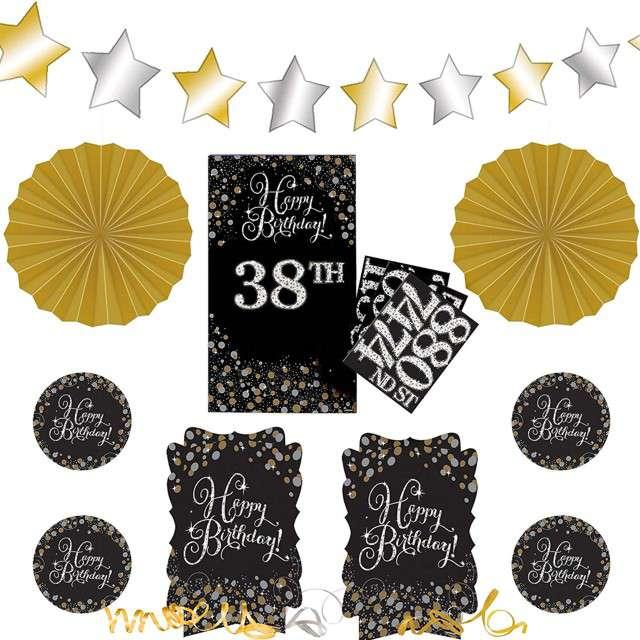 """Dekoracja """"Happy Birthday - 38 urodziny"""", Amscan, zestaw"""