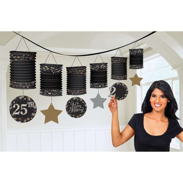 Girlanda Czarne Lampiony - Personalizowana Amscan 365 cm
