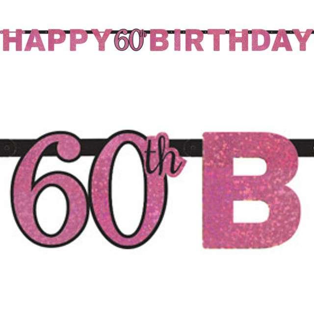 "Baner ""Happy Birthday"", różowy, Amscan, 213 cm"
