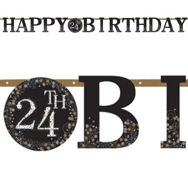 Baner Happy Birthday - Personalizowany czarny Amscan 320 cm