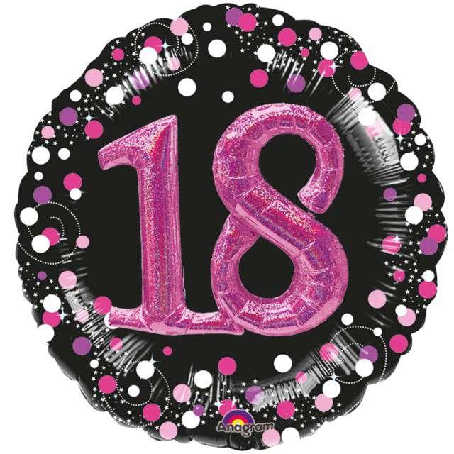 """Balon foliowy """"18 Urodziny - Glitz"""", czarno-różowy, Amscan, SHP"""