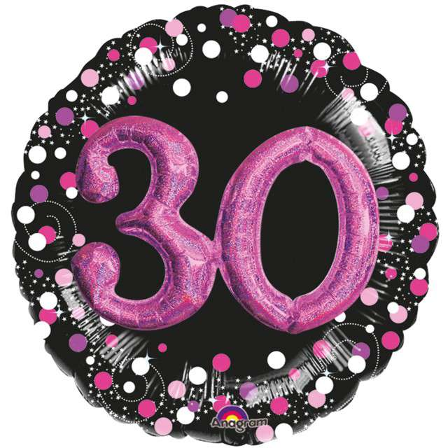 """Balon foliowy """"30 Urodziny - Glitz"""", czarno-różowy, Amscan, SHP"""