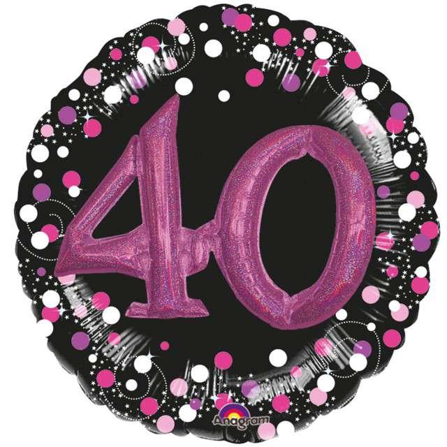 """Balon foliowy """"40 Urodziny - Glitz"""", czarno-różowy, Amscan, SHP"""