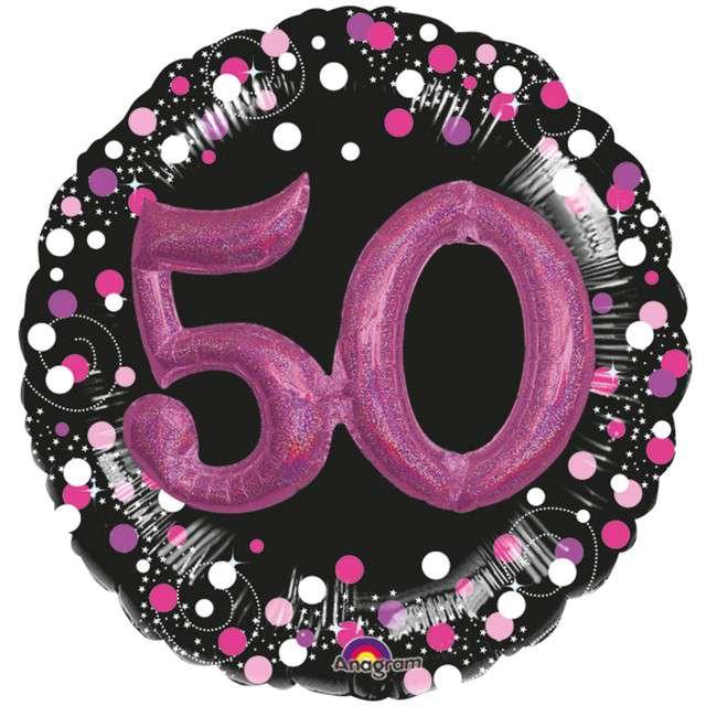 """Balon foliowy """"50 Urodziny - Glitz"""", czarno-różowy, Amscan, SHP"""