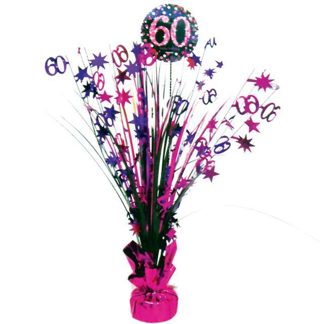 """Obciążnik do balonów """"Bukiet 60 urodziny"""", AMSCAN, różowo-fioletowy, 250 g"""