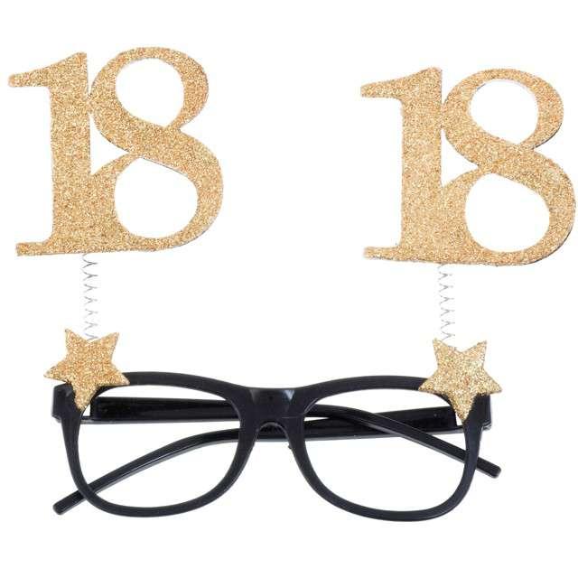 """Okulary party """"18 Urodziny"""", czarno-złote, Santex"""