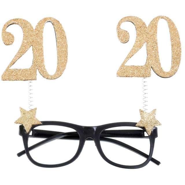 """Okulary party """"20 Urodziny"""", czarno-złote, Santex"""