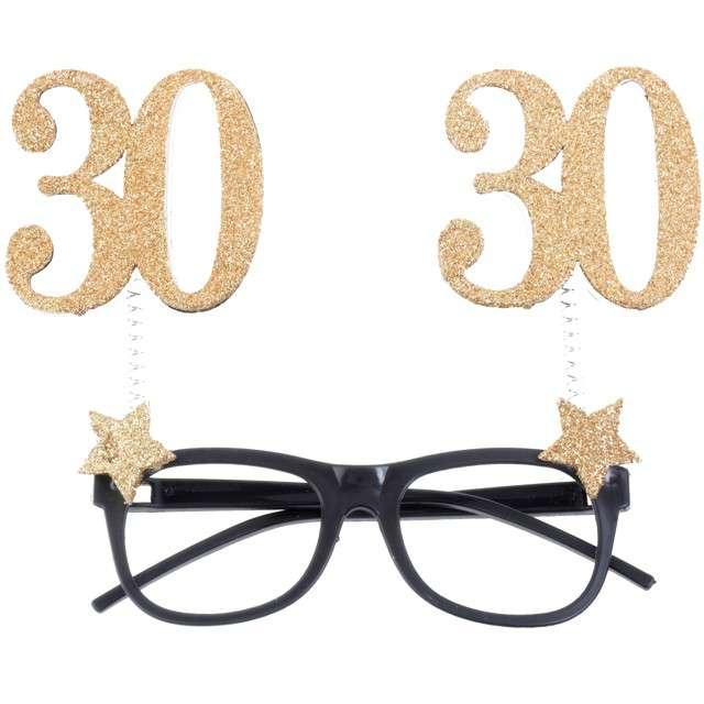 """Okulary party """"30 Urodziny"""", czarno-złote, Santex"""
