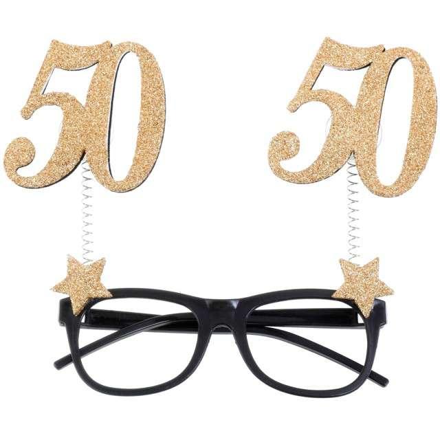 """Okulary party """"50 Urodziny"""", czarno-złote, Santex"""