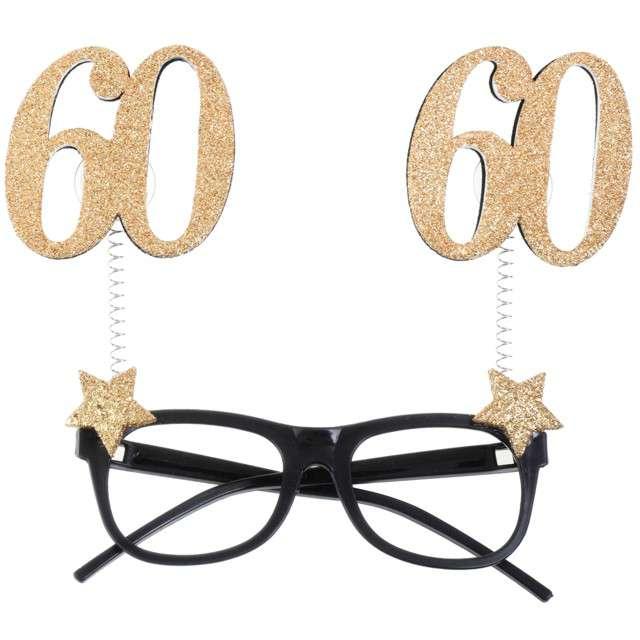 """Okulary party """"60 Urodziny"""", czarno-złote, Santex"""