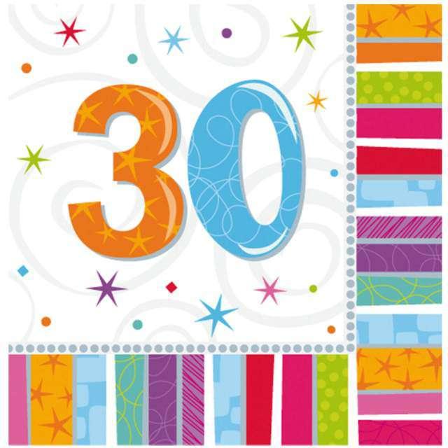 """Serwetki """"30 urodziny - Radiant Birthday"""", AMSCAN, 33 cm, 16 szt"""
