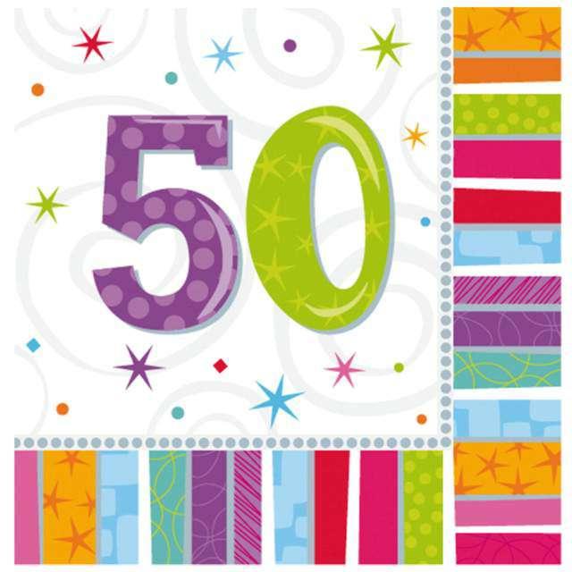 """Serwetki """"50 urodziny - Radiant Birthday"""", AMSCAN, 33 cm, 16 szt"""