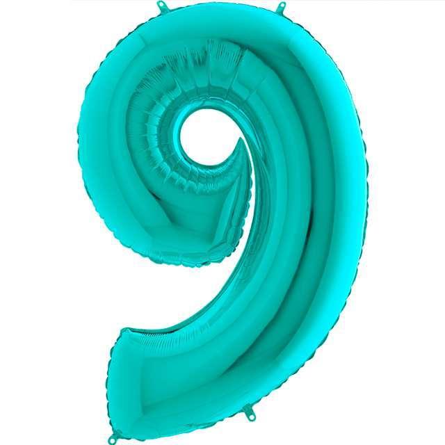"""Balon foliowy """"Cyfra 9"""", turkusowy, Grabo, 40"""""""