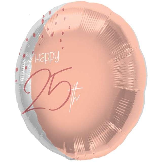 """Balon foliowy """"Happy 25th"""", różowe złoto, Folat, 18"""", RND"""