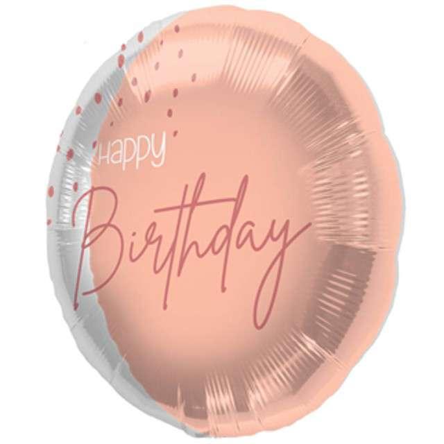 """Balon foliowy """"Happy Birthday"""", różowe złoto, Folat, 18"""" RND"""