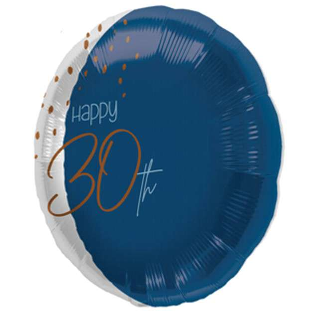 "Balon ""Happy 30th"", niebieski, Folat, 18"" RND"