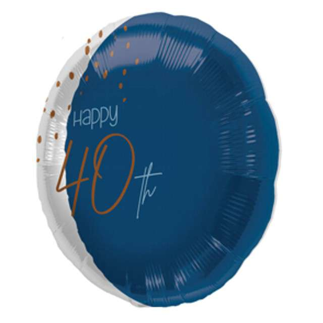 "Balon ""Happy 40th"", niebieski, Folat, 18"" RND"