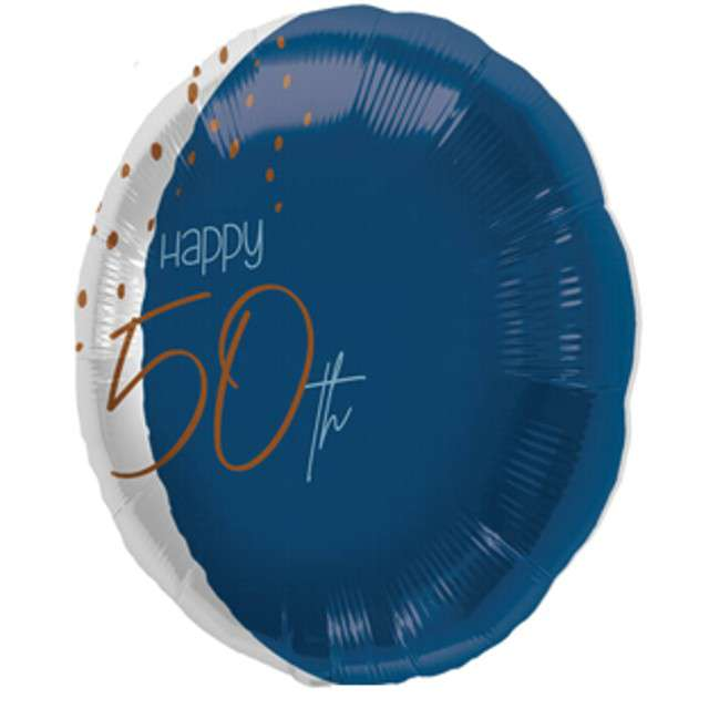 "Balon ""Happy 50th"", niebieski, Folat, 18"" RND"