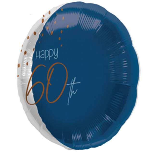 Balon Happy 60th niebieski Folat 18 RND