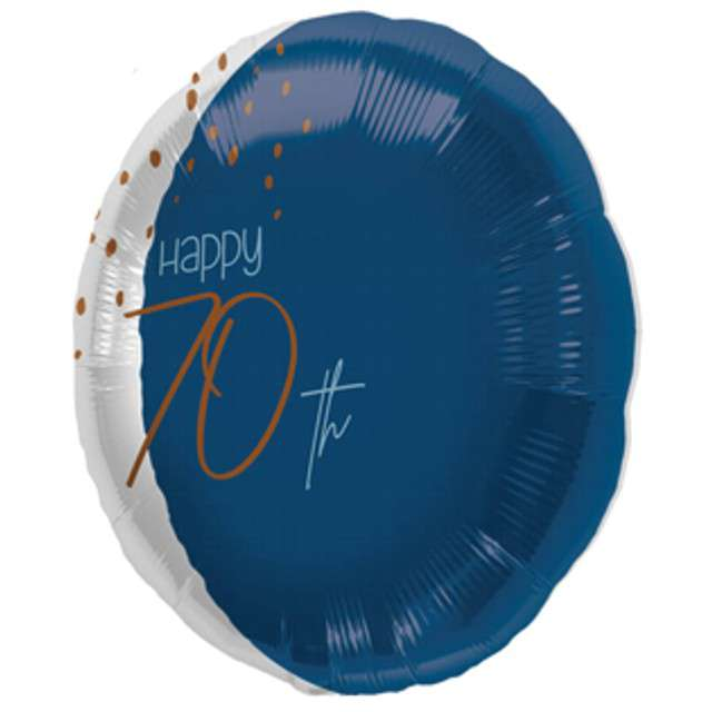 "Balon ""Happy 70th"", niebieski, Folat, 18"" RND"