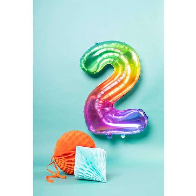 Balon foliowy Yummy Gummy Rainbow Numer 2 tęczowy Folat 34