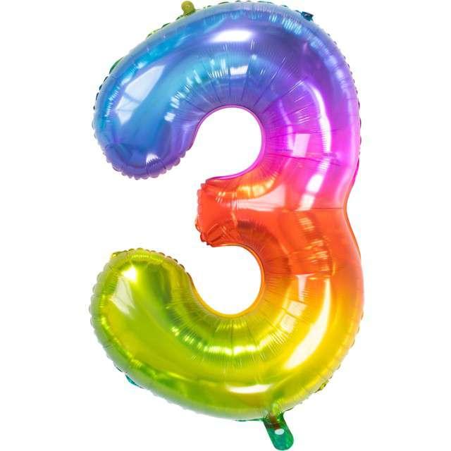 """Balon foliowy """"Yummy Gummy Rainbow Numer 3"""", tęczowy, Folat, 34"""""""